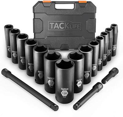TACKLIFE 1/2-Inch 17 Pieces Drive Master Deep Impact Socket Set
