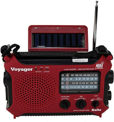 Kaito KA500IP-RED Voyager Radio with Alert and Cell Phone Charger
