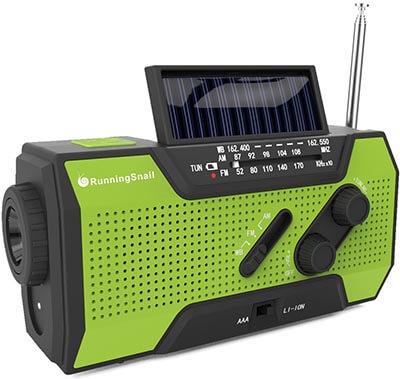 RunningSnail Solar Crank NOAA Weather Emergency Radio with 2000mAh Power Bank