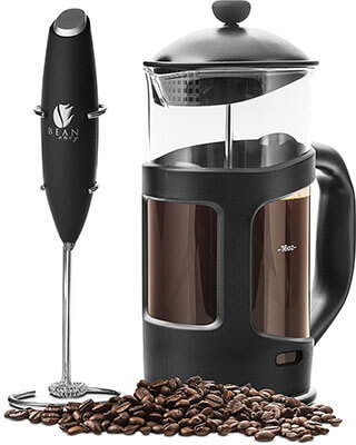 Bean Envy Professional Grade French Press Coffee Maker & Premium Milk Frother-34 oz