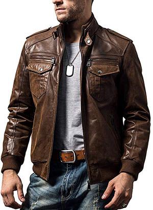 FLAVOR Men Biker Leather Motorcycle Jacket - Retro Brown