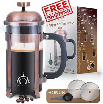 Viking Copper French Press Coffee Maker Stainless Steel Cafeteria