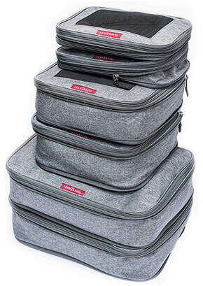 LeanTravel Compression Packing Cubes Luggage Organizers Grey