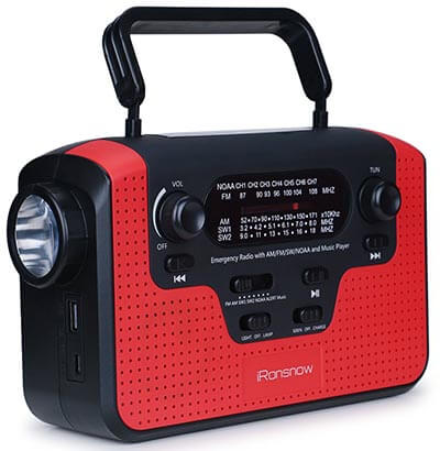 iRonsnow IS-388 Real NOAA Alert Weather Radio with Multiple Power Options