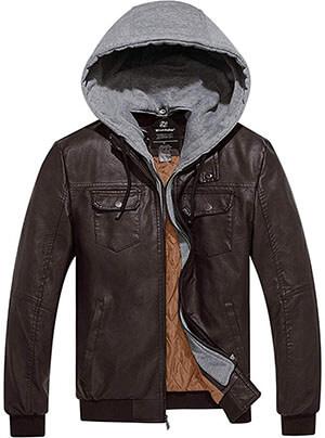 Wantdo Men's Faux Leather Jacket PU Leather Moto Jacket