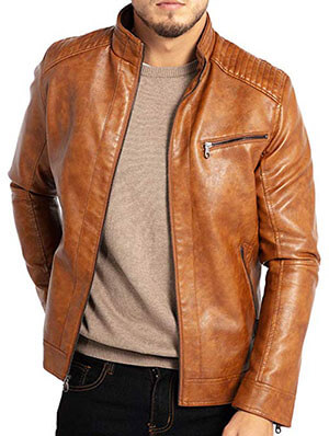 WULFUL Stand Collar Leather Jacket for men