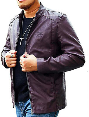 LIERDAR Men's Casual Zip-Up Faux Leather Jacket Outfit