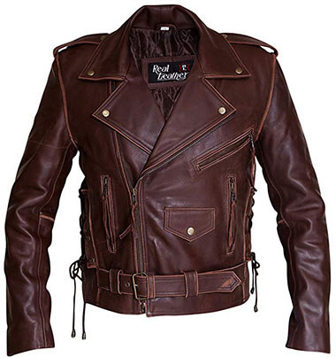 RSH Leathercraft Brando Distressed Brown Retro-Vintage Cowhide Leather Jacket