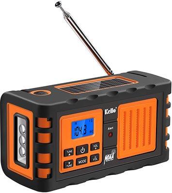 Kello TK-669G Emergency Solar Hand/Crank Weather Alert Radio