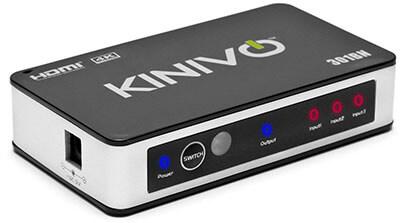 Kinivo 301BN 3-Port High-Speed 4K HDMI Switch IR Wireless Remote