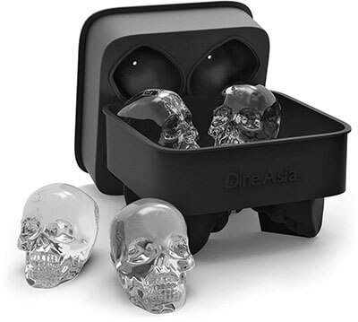 DineAsia 3D Skull Flexible Silicone Ice Cube Mold Tray