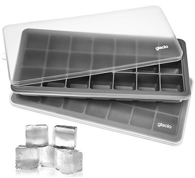 glacio Ice Cube Flexible Trays Silicone, with Lids
