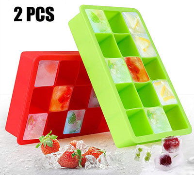 AODOOR Silicone Ice Cube Molds, Flexible Ice Tray