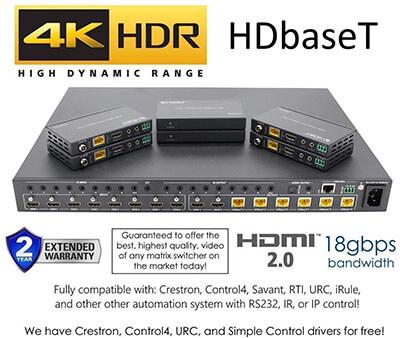 No Hassle AV HD baseT 4K HDMI Matrix SWITCHER