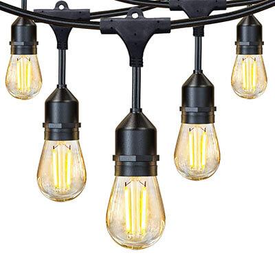 JUSLIT 48Ft Commercial Grade f Outdoor LED String Lights