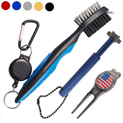SPOMR Golf Club Brush Groove Sharpener Cleaner Set