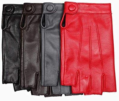 Warmen Women's Nappa Leather Half-Finger Fingerless Motorcycle Fitness Gloves