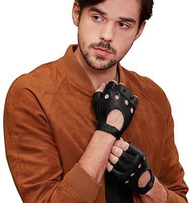 GSG Men's Fingerless Leather Half Finger Fitness Motorcycle Protection Gloves- Black Unlined