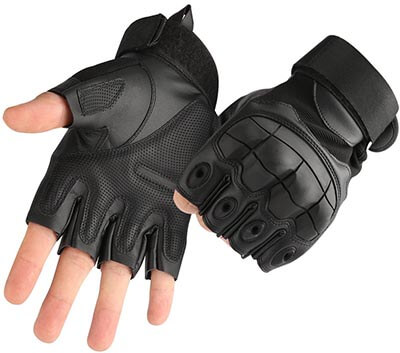 Accmor Tactical Gloves Military Rubber Hard Knuckle Fingerless Gloves