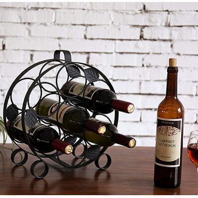MyGift Countertop Metal Wine Rack