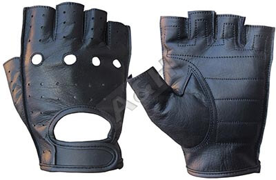 A&H Apparel Genuine Cowhide Leather Motorcycle Glove- Fingerless Driving Gloves