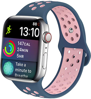 iDon Apple Watch Band 38MM 40MM 42MM 44MM, Breathable Silicone Sport Band