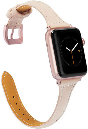 Wearlizer Nude Slim Leather Apple Watch Bands 38mm 40mm Women's for iWatch Sport Wristband Strap