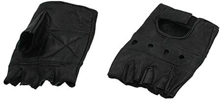 Dona Michi Lightweight Men's Leather Fingerless Motorcycle Gloves
