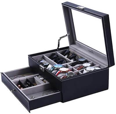 FINEFEY Watch Box Sunglasses Organizer Jewelry Box