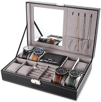 EleLight Jewelry Box 8 Slots Watch Storage Case
