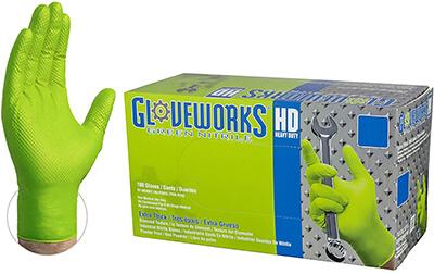 Ammex GLOVEWORKS Green Nitrile Gloves