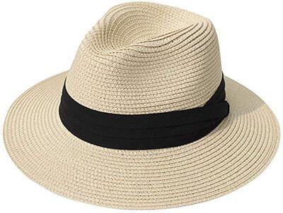Lanzom Women Wide-Brim Straw Panama Roll up Hat