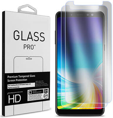 CoverON 2 Piece Premium Tempered Glass Screen Protectors for Samsung Galaxy A8 Plus 2018