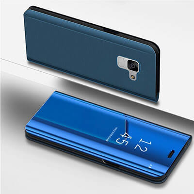 IKASEFU PU Leather Electroplate Plating Mirror Flip Folio Galaxy A8 Plus Case Cover