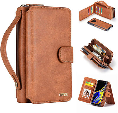 BRG PU Leather Flip Folio Removable Cover Zipper Purse with 11 Slots