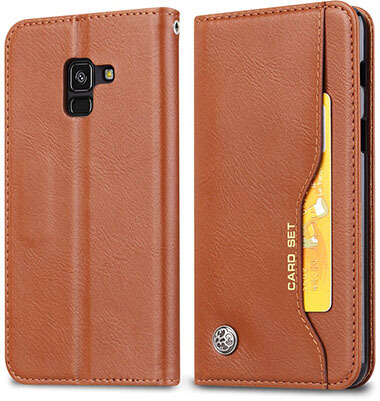 Happon Samsung Galaxy A8 Plus 2018 Leather Wallet Case