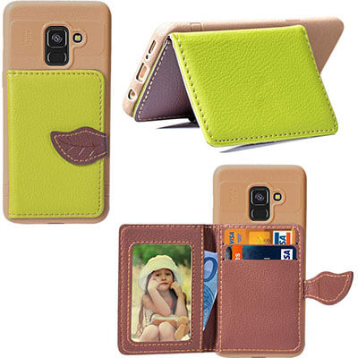 Happon Premium Leather Samsung Galaxy A8 Plus 2018 Wallet Case
