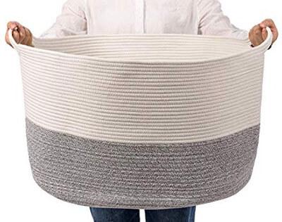 MARSHiiN XXX-Large Cotton Rope Woven Laundry Hamper Basket