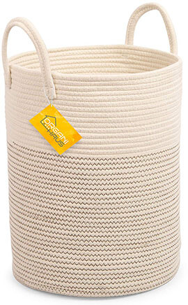OrganiHaus Cotton Rope Basket with Long Handles