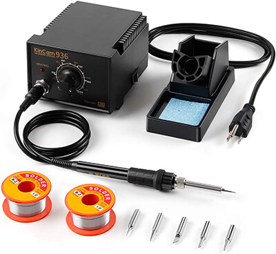 KinCam ESD Safe Soldering Iron Station 5 Pcs Iron Tips