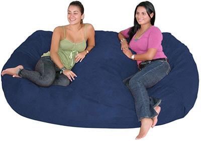 Cozy Sack Bean Bag Chair, X-Large, Navy-7-Feet