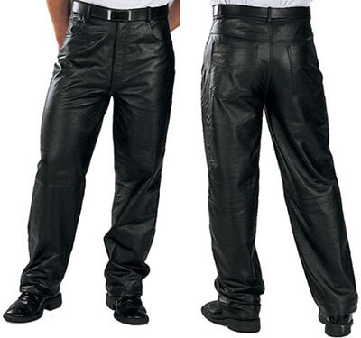 Xelement 860 Classic Men's Loose Fit Leather Pants - Black 34