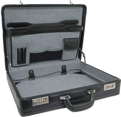 Alpine Swiss Expandable Leather Attache Briefcase Dual Combination
