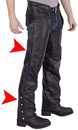 Viking Cycle Men's Braided-Motorcycle Leather Chaps