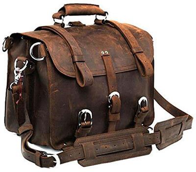Polare Men's Full Grain Leather 16 inch Briefcase Shoulder Messenger Bag