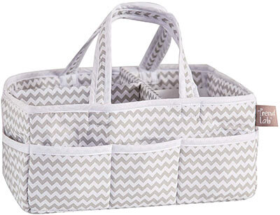 Trend Lab Dove Gray Chevron Storage, Diaper Caddy - White/Gray