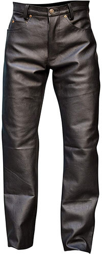 Rakson Men's Genuine Leather Pant Jeans Style Button Fly Model3 4 Inches-5 Pockets
