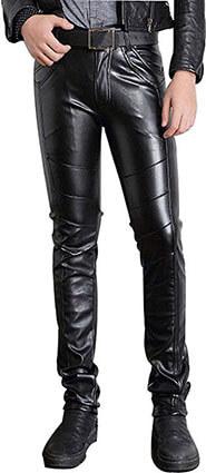 Moonwalk Men's Skinny Slim Fit Straight Leg, Faux PU Leather