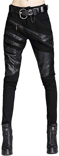 Minibee Women's Patchwork Leather Fashionable Personalized Trousers Punk Style