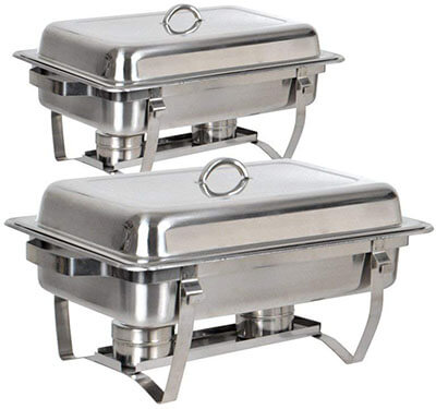 MS 8 Quart Stainless Steel Rectangular Chafing Dish- Set of (2)